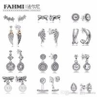 Wholesale diy stud bracelet resale online - FAHMI Sterling Silver Earrings Flower type Hollow Ear Studs charm Beads Fit Bracelet DIY Dangler factory