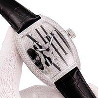 bracelet en diamant couleur achat en gros de-Collection Homme 4 Couleurs Grace Curvex Date Crâne Date Gypsophila Diamond Dial Automatique Hommes Diamant Bracelet Cuir Bracelet Homme Montre
