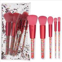 lolipop seti toptan satış-Yeni 5 adet Lolipop Şeker Unicorn Kristal Makyaj Fırçalar Set Renkli Güzel Vakıf Karıştırma Fırçası Makyaj Aracı maquillaje