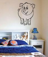 cerdo de vinilo al por mayor-Happy Cartoon Pig Vinyl Wall Stickers Decor Babys Rooms Leyes de animales encantadores Tatuajes de pared Extraíbles Babykamer Muustiskers