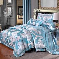 sábanas de algodón floral tamaño queen al por mayor-Azul claro flores florales Jacquard ropa de cama de algodón de seda mezcla Queen King Size 4 unids funda nórdica hoja plana funda de almohada