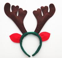 Wholesale reindeer antlers ears resale online - Christmas Antlers Headwear Reindeer Antlers Jingle Bells Hairband Christmas Horn Headband with Ears Deer Headband
