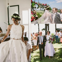 Wholesale halter feather wedding dresses resale online - Beach Country Two Pieces Wedding Dresses Summer Outside Bridal Halter Backless Sexy White Eleagnt Lace Taffeta Bridal Gowns