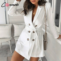 Wholesale winter white hats for women for sale - Group buy Conmotor Bow Long Trench Coat Elegant White Trench Coat Women Autumn Winter Coat Blazer Dress For Off Lady