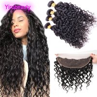 Wholesale wavy lace frontal for sale - Group buy Malaysian Virgin Hair Bundles With X4 Lace Frontal Ear To Ear Water Wave Bundles With Lace Frontal Wet And Wavy Lace Frontal With Bundle