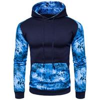 abrigo de leopardo azul al por mayor-Nueva sudadera con capucha de leopardo azul para hombre Novedad Patchwork Impreso Manga larga Abrigo Estilo de Inglaterra Sudaderas casuales para otoño Primavera