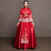 vestido formal vermelho estilo chinês venda por atacado-Red Tradicional Show de noiva Bordado cheongsam casado ternos estilo chinês de casamento vestido formal feminino Overseas Chinese Qipao