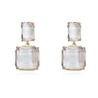 koreanische ohrmuschel ohrringe großhandel-Minimalistische niedliche quadratische Kristallohrringe für Frauen Gold Silber Nadel Eardrop Temperament koreanische Ohrringe Modeschmuck