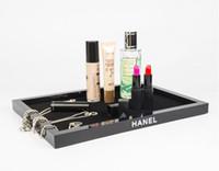 ingrosso scatola in acrilico-Il grado superiore acrilico nero desktop di storage vassoio cosmetici Jewelry Box Cosmetics Box di stoccaggio per trasporto libero