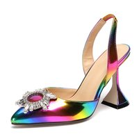 Wholesale diamond open dress shoes for sale - Group buy 2020 shoes fashion rainbow color woman pumps Sexy Diamond Crystal sun flower pointed toe High Heel Sandals Dress Shoes LX