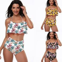 Wholesale 2019 Sexy Halter Ruffle High Waist Bikini Beachwear Print Women Swimsuit Bikini Set Beach Bathing Suit Biquini Swimwear