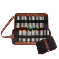 ingrosso spazzola della matita della penna-Soft Cover Pen Holder Pencil Wrap Painting Roll Stationery Brush Accessorio Custodia professionale per borsa di tela