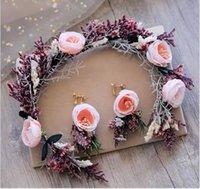 Wholesale crystal flower wedding garlands resale online - Sen garland headdress earrings set new summer seaside wedding styling jewelry headband artificial flower