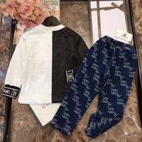 conjuntos de trajes de niño blanco al por mayor-kids_stars 2019 Trajes de dos piezas Traje de ropa para niños Costuras en blanco y negro y jeans niñas otoño ropa niños conjuntos 0818