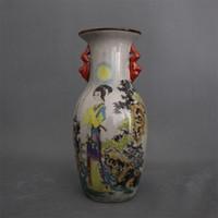 porcelana jingdezhen venda por atacado-Jingdezhen archaize cerâmica e porcelana qianlong em pó esmalte sable cicada adoração lua duplo ouvido vaso de decoração para casa peças do velho