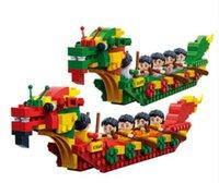 montaje de barcos al por mayor-Ensamblaje de rompecabezas de partículas pequeñas. Bloque de construcción Kaizhi juguetes para niños Modelo de juguete Dragon Boat del Festival chino tradicional Dragon Boat Festi