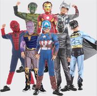 jungen rote robe groihandel-Halloween Cosplay Alles Hier Captain America Grüner Riese Iron Man Superman Fledermaus Superman Spiderman Panther Hornet Fighter Flash Optimus Prime