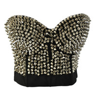 punknietspitzenbolzen groihandel-Sexy Mode Spike Stud Niet Gold Silber Dessous Punk Party Wear Clubwear Push Up Bh Für Frauen J190701