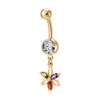 zincir göbek düğme yüzükleri toptan satış-Renk petal Zirkon seksi Kristal Dangle Zincir altın renk Göbek Piercing Yüzük Belly Button Yüzükler Cerrahi Çelik Vücut Takı