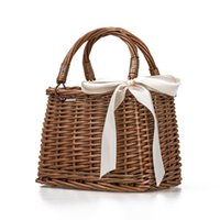 Wholesale cell phone storage boxes resale online - Retro Style Rattan Woven Bag Handbag Natural Fashion Beach Bag For Ladies Storage Basket Outdoor Lunch Picnic Box Bag Brand New