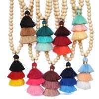 colar de borlas frisado venda por atacado-2019 18 Styles frisada de madeira camisola cadeia de vento étnico Madeira Beads 3 camadas borla pendente colares longos para Mulheres Menina do presente M799F