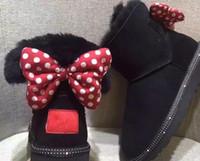 botas de pirata venda por atacado-Mais recente projeto de luxo Curto Baby Boy Menina Mulheres Crianças Bow-Tie Botas De Neve De Pele Integrada Manter Botas Quentes UE Tamanho 25-41