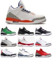 sapatos coreanos venda por atacado-Com Box 3 Knicks Oregon Duck PE Interruptor remendo Seul Coreia do Chicago JTH tênis de basquete Homens 3s Tinker Branco Cimento Sports Sneakers