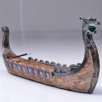 pinte o desktop venda por atacado-Barco do Dragão Incenso Titular da Vara Queimador Mão Esculpida Casa Censer Ornamentos Retro Queimadores De Incenso Tradicional Design Estatuetas Decorativas