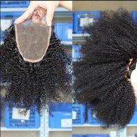 ingrosso chiusura umana di tessuto ricci-Fasci di capelli ricci Afro crespi 3 con chiusura Afro Kinky Parte centrale libera 3 parti doppie estensioni dei capelli umani tingibili capelli umani tesse
