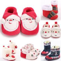 baby-weihnachtshefterzufuhren großhandel-Pudccoco Babyschuhe nette Weihnachtsthema Neugeborenes Junge Mädchen Erste Wanderer Slippers Winter warme Baby-Boots