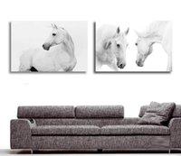 yağlı boya kanvas beyaz at toptan satış-Toptan Satış - Toptan-Büyük Duvar Resimleri Salon Dekorasyon Sanat 2 Parça Modern Dekoratif Resim Beyaz At Hayvan Yağlıboya Tuval Üzerine