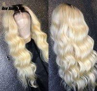 ombre peluca sintetica de onda suelta al por mayor-Larga brasileña suelta de encaje de encaje frente peluca 1B / 613 Ombre color rubio peluca sintética preplufada del pelo resistente al calor para las mujeres africa