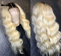 uzun peruk sarışın 613 toptan satış-Uzun Brezilyalı gevşek Dalga Dantel Ön Peruk 1B / 613 Ombre Sarışın Renkli Preplucked afrika kadınlar için sentetik saç peruk isıya dayanıklı