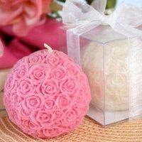 vela rosa de la boda de la bola al por mayor-Envío Gratis 100 UNIDS Favores de Vela de Boda 2