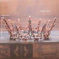 coroas redondas para noivas venda por atacado-Vintage Barroco Strass Tiaras Simples Oco Flor de Metal Rodada Coroa Headwear Para A Noiva Acessórios de Jóias de Casamento Romântico Atacado