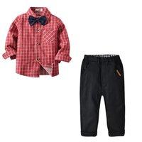 erkekler için siyah kravat toptan satış-Çocuk Boys Giyim Seti Ekose Cep Tek Göğüslü Siyah Pantolon Beyefendi Kravat Yaz Çocuk Giysi Tasarımcısı 1-7 T