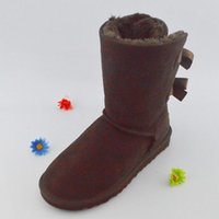 Wholesale snow boots price resale online - Hot Sale kids adult EU25 Big size Low price new Australian snow boots thick leather bow in the tube snow boots cotton shoes GAZELLE