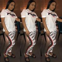 yuvarlak yaka takım toptan satış-Mektup Baskı Iki Parçalı Pantolon Kıyafetler Kadınlar Casual Beyaz Kısa Kollu Yuvarlak Yaka Üst Uzun Pantolon Suit