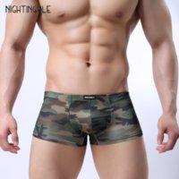 boxeadores del ejército para hombre al por mayor-Ropa interior masculina Boxer Shorts con cremallera Sexo Gay Erotic Army Green Wild Sexy Fancy para hombre Calzoncillos Ropa interior exótica para hombre
