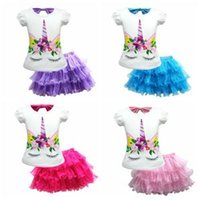Wholesale cute baby girl clothes for sale - Kids Unicorn Two Pieces Set Short Sleeve T shirt Tutu Skirt Girls Baby Princess Dress Clothing Set sets OOA6335
