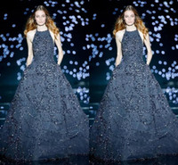 vestidos de festa venda por atacado-Elie Saab 2020 Marinha Escuro Vestidos de Noite Halter Pescoço Tule A Linha de Baile Vestidos de Comprimento Total Sexy Partido Formal Celebridade Vestido Personalizado