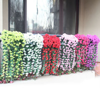 Wholesale artificial green hanging flower vines for sale - Group buy Party Decorative Hanging Artificial Violet Flowers Wall Wisteria Basket Garland Vine Flower Fake Silk Orchid for Wedding s