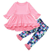 Wholesale floral pants for kids resale online - 2018 New Arrival Children Kids Girls Cartoon Printing Long Sleeves Fold Dress Floral Pants Set Outfit for Baby Clothes