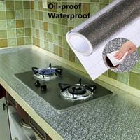 Wholesale oil proof kitchen wallpaper resale online - 40x100cm Kitchen Oil proof Waterproof Stickers Aluminum Foil Kitchen Stove Cabinet Self Adhesive Wall Sticker DIY Wallpaper