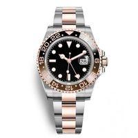 смотреть серебряную розу оптовых-Высокое качество Керамическая Рамка GMT II Роскошные Часы Автоматические Часы Серебро Розовое Золото Оригинальная Застежка Мужская Мода Master Reloj Часы
