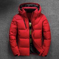 мода снег парка оптовых-Зимняя куртка Мужские качества Термическая Толстые пальто снег Красный Черный Parka Мужской Теплый Outwear Мода белая утка вниз куртка мужчин