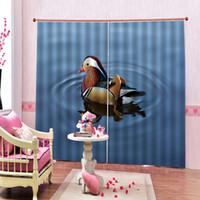 Wholesale lake decor for sale - Group buy Asian Wildlife Bird Decor Curtain Ducks Swim in blue lake Polyester Fabric Blackout Window Drapes Sets Customizable any size