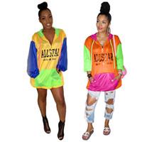 chaqueta de color brillante al por mayor-Mujeres Cartas Ropa de Protección Solar Brillante Patchwork Color Chaqueta de Cremallera Fina Sudaderas Costura Ropa de Diseñador a prueba de sol C41504