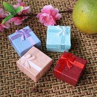 joyeros rosa morado al por mayor-Top joyero caja de regalo de moda custodia azul rosa rojo púrpura color 4 cm * 4 cm