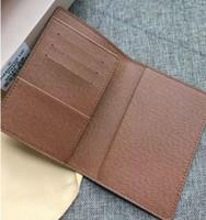 diseñador de pasaportes al por mayor-Diseñador- Organizador de bolsillo de calidad NM damier graphite para hombre Carteras de cuero real titular de la tarjeta pasaporte cubierta monedero identificación billetera bolsas bifold